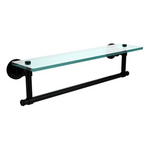 Washington Square Matte Black 22x5 Glass Shelf w/ Towel Bar