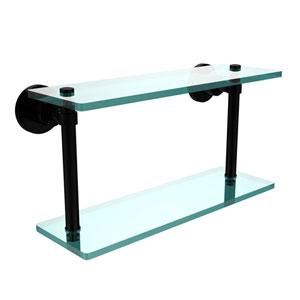 Washington Square Matte Black 16 Inch Double Glass Shelf