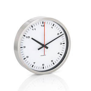 Era White and Brushed Stainless Steel Wall Clock - Small