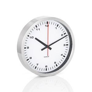 Era White and Brushed Stainless Steel Wall Clock - Medium
