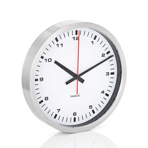 Era White and Brushed Stainless Steel Wall Clock - Large