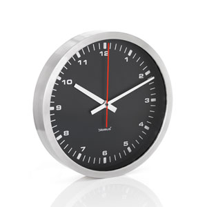 Era Black and Stainless Steel Wall Clock, Black - Large