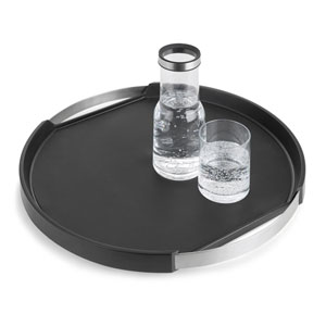 Pegos Black and Stainless Steel Tray Round, Non-Skid