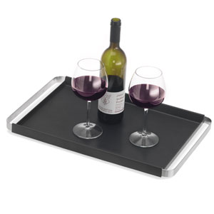 Pegos Black and Stainless Steel Tray Rectangular, Non-Skid