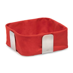 Desa Red and Stainless Steel Bread Basket, Large