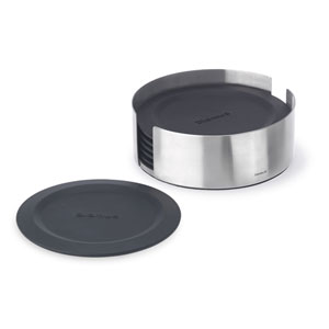 Lareto Black and Stainless Steel Coasters Round - Six Piece