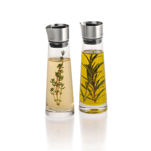 Alinjo Glass and Stainless Steel Oil and Vinegar Set