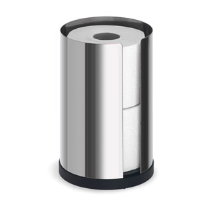 Nexio Polished Stainless Steel Toilet Roll Holder Two Roll