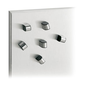 Tewo Brushed Stainless Steel Set of Six Magnets