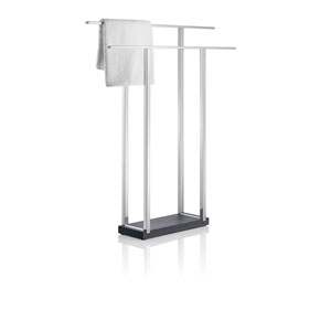 Menoto Polished Stainless Steel Double Towel Stand