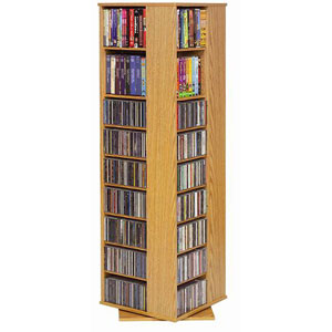 High Capacity Spinning Oak Multimedia Tower