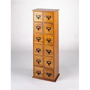 Oak Library Card File Compact Disk Cabinet