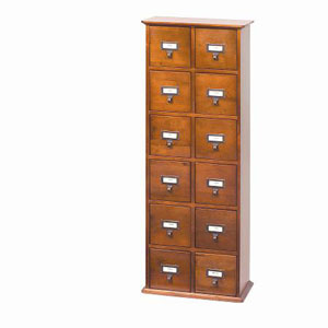 Walnut Library Card File Compact Disk Cabinet