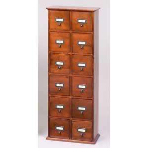 Library File Walnut Multimedia Cabinet