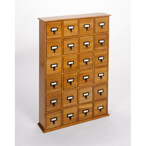 Library Card File Compact Disk Oak Cabinet