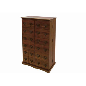 Louvered Mission Style Multimedia Walnut Cabinet