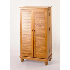 Louvered Oak Multimedia Cabinet