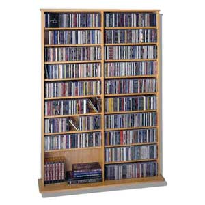 High Capacity Oak Veneer Medium Multimedia Wall Rack