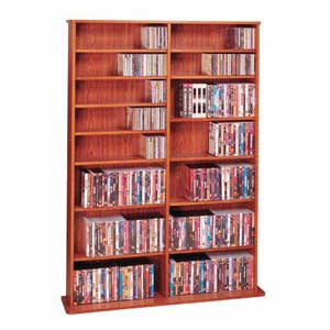 High Capacity Cherry Oak Veneer Medium Multimedia Wall Rack