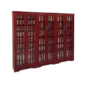 Dark Cherry Inlaid Glass Mission Multimedia Cabinet