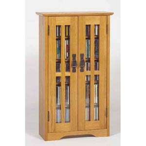 Wall Hanging Mission Glass Mission Multimedia Cabinet  - Oak