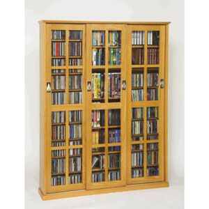 Sliding Door Inlaid Glass Mission Style Oak Multimedia Cabinet