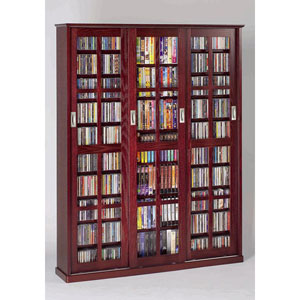 Sliding Door Inlaid Glass Mission Style Dark Cherry Multimedia Cabinet