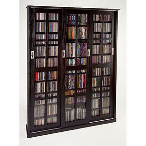 Sliding Door Inlaid Glass Mission Style Espresso Multimedia Cabinet