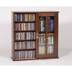Wall Hanging Sliding Door Mission Multimedia Walnut Cabinet