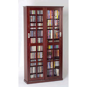 Sliding Door Inlaid Glass Dark Cherry Mission Cabinet