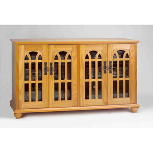 Inlaid Glass Door Mission Style Flat Panel Oak TV Cabinet