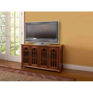Inlaid Glass Door Mission StyleWalnut Flat Panel TV Cabinet