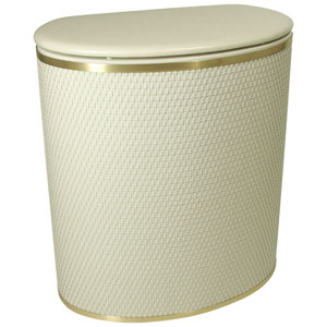 Capri Classic Reflections Cream Bowed Front Hamper with Brushed Gold Trim