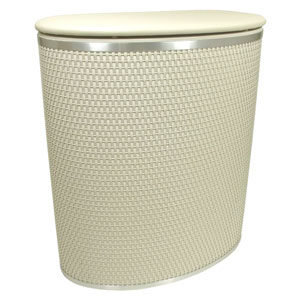 Capri Classic Reflections Cream Bowed Front Hamper with Silver Trim