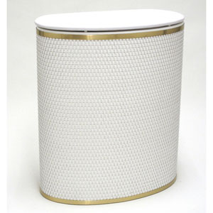 Capri Classic Reflections White Bowed Front Hamper with Brushed Gold Trim