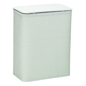White Chelsea Pattern White Wicker Hamper with Vinyl Lid