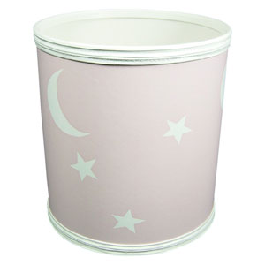 Stars and Moons Pink Vinyl Wastebasket