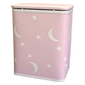 Stars and Moons Pink Vinyl Nursery Hamper