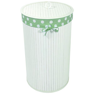 Baby Things White Bamboo Hamper with Sage Liner