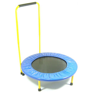 Fun and Fitness Blue and Yellow Trampoline with Handle Bar