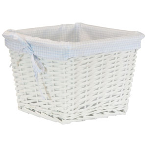 Willow Small White Basket with Blue Liner