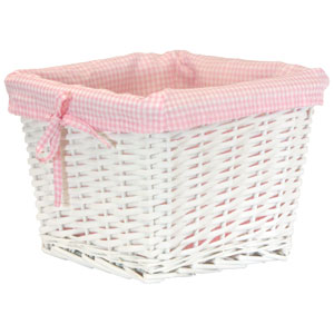 Willow Small White Basket with Pink Liner
