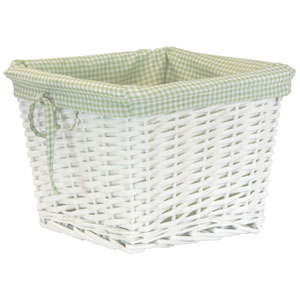 Willow Small White Basket with Sage Liner