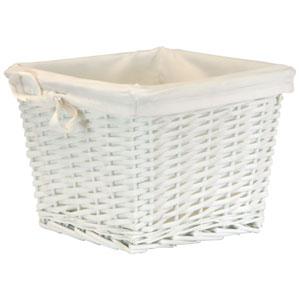 Willow Small White Basket with White Liner