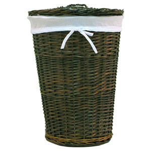 Willow Round Espresso Hamper with Blue Liner