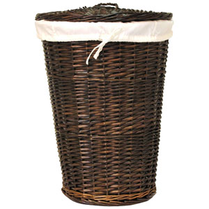 Willow Round Espresso Hamper with White Liner