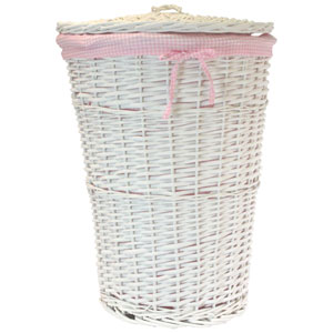 Willow Round White Hamper with Pink Liner