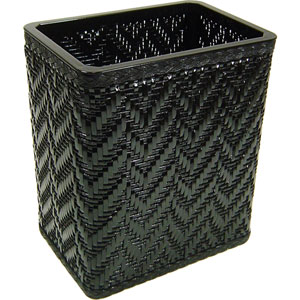 Elegante Black Decorator Color Wicker Wastebasket