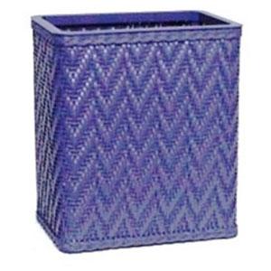 Elegante Coastal Blue Decorator Color Wicker Wastebasket