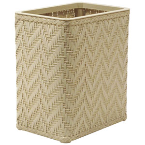 Elegante Cream Decorator Color Wicker Wastebasket